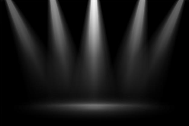 Focos de foco de escenario sobre fondo negro