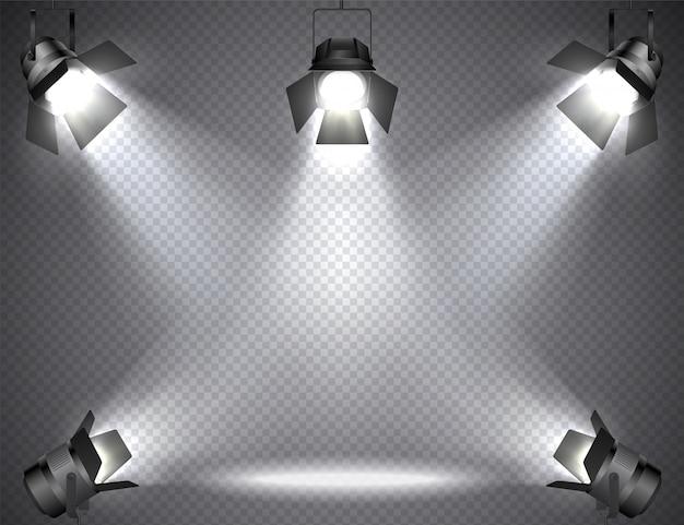 Focos con luces brillantes en transparente.