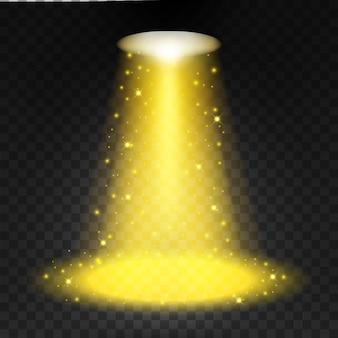 Focos de oro que brillan en el fondo transparente