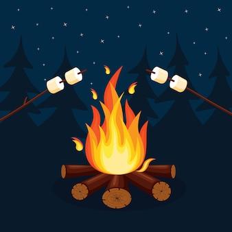 Fogata y llamas de fuego de dibujos animados