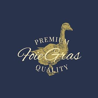 Foie gras de primera calidad. plantilla de logotipo, símbolo o signo abstracto de paté de ganso. sillhouette de ganso dibujado a mano con tipografía retro. emblema de lujo vintage