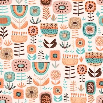 Folk floral de patrones sin fisuras