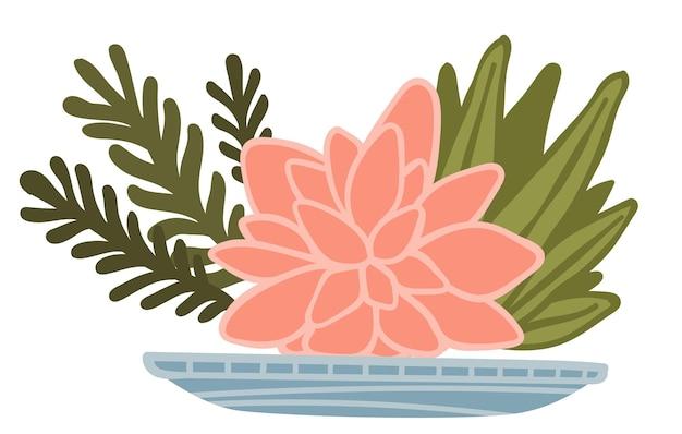 Follaje decorativo con flor en flor, composición aislada en plato o maceta. conjunto florístico creativo de loto floreciente y hojas. cultura asiática y diseño de interiores con vegetación fresca, vector