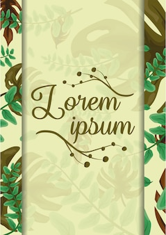 Follaje natural, hojas con marco para insertar texto