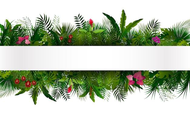 Follaje tropical con banner horizontal