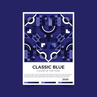Folleto abstracto azul clásico de plantilla