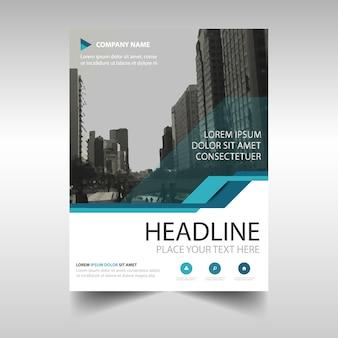 Folleto abstracto azul de reporte anual