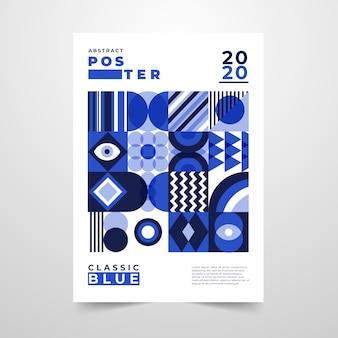 Folleto abstracto con formas geométricas azules