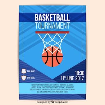 Folleto abstracto de torneo de baloncesto con canasta