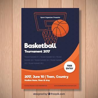 Folleto abstracto de torneo de baloncesto
