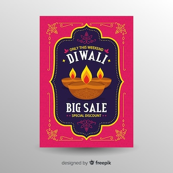Folleto adorable de rebajas de diwali con diseño plano