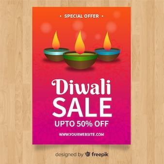 Folleto adorable de rebajas de diwali con diseño realista