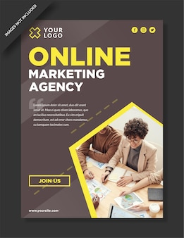 Folleto de agencia de marketing online y plantilla de redes sociales