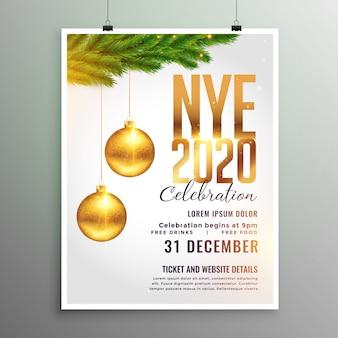 Folleto de año nuevo 2020 en estilo de tema blanco