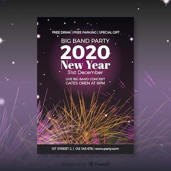 Folleto de año nuevo 2020 con fuegos artificiales