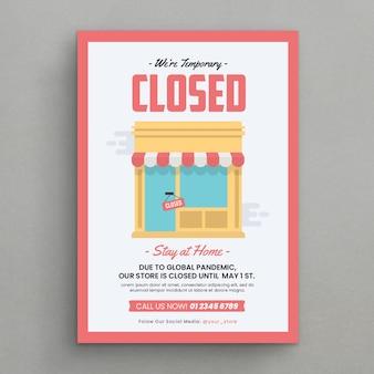 Folleto de anuncio de tienda cerrada