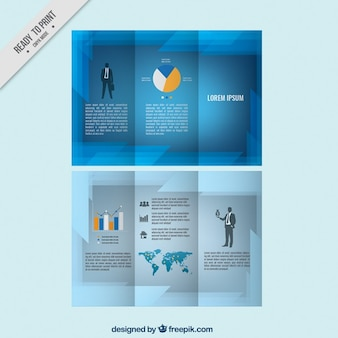 Folleto azul abstracto de empresa