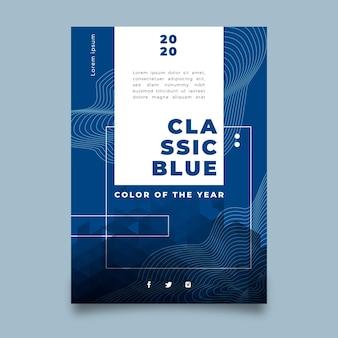 Folleto azul clásico abstracto de plantilla