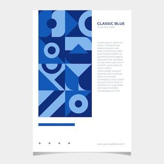 Folleto azul clásico abstracto