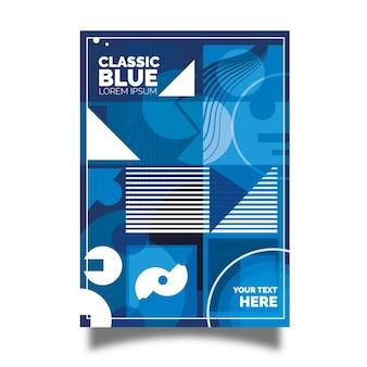 Folleto azul clásico con diseño geométrico abstracto.