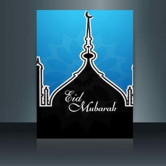 Folleto azul y negro de eid mubarak