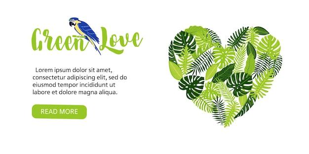 Folleto de banner web con hojas de monstera tropical en forma de corazón, palma de helecho y loro o guacamayo