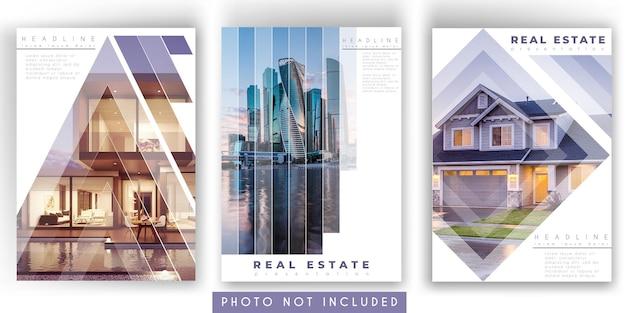 Folleto de bienes raíces o plantilla de portada de informe anual