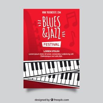 Folleto de blues y jazz con piano
