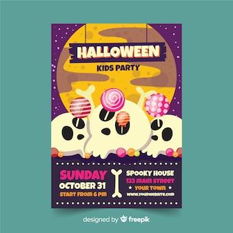 Folleto de calaveras con piruletas fiesta de halloween