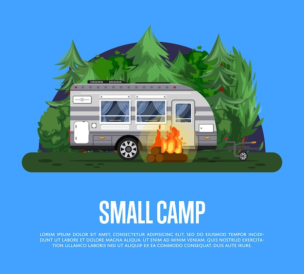 Folleto de campamento pequeño con remolque de viaje
