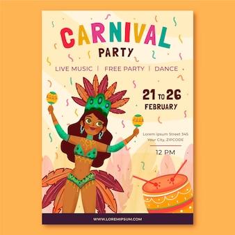 Folleto de carnaval brasileño dibujado a mano