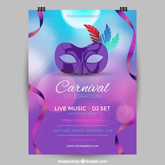 Folleto/cartel desenfocado de fiesta de carnaval brasileño