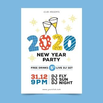 Folleto / cartel de fiesta de año nuevo 2020 dibujado a mano
