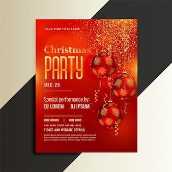 Folleto de cartel de fiesta de navidad en tema rojo brillante