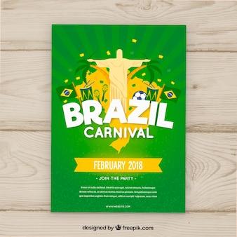 Folleto/cartel hecho a mano de fiesta de carnaval brasileño