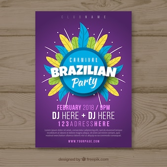 Folleto/cartel plano de fiesta de carnaval brasileño