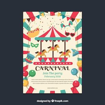 Folleto/cartel plano de fiesta de carnaval