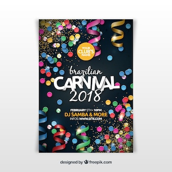 Folleto/cartel realista de fiesta de carnaval brasileño