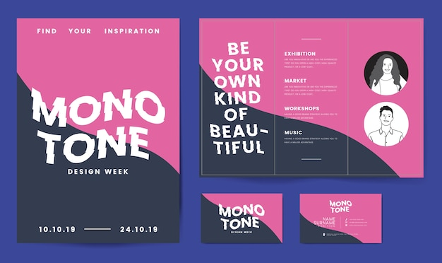 Folleto, carteles y plantilla de tarjeta de visita.