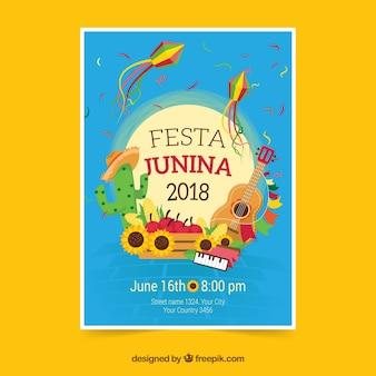 Folleto de celebración de fiesta junina