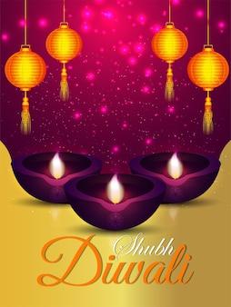Folleto de celebración de shubh diwali
