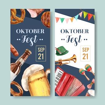 Folleto de cerveza, comida e instrumentos musicales para el diseño del oktoberfest