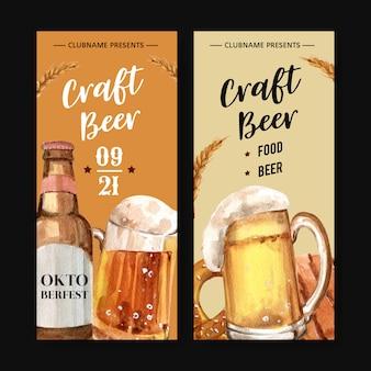 Folleto de cerveza en vidrio para el oktoberfest en munich design