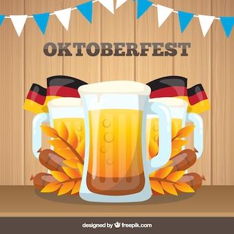 Folleto de cervezas de oktoberfest con banderas alemanas