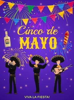 Folleto del cinco de mayo con banda de mariachis