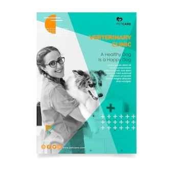 Folleto de clínica veterinaria y mascotas saludables