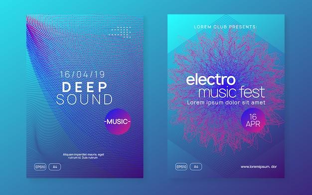 Folleto del club de neón. electro dance music. fiesta de trance dj. electroni