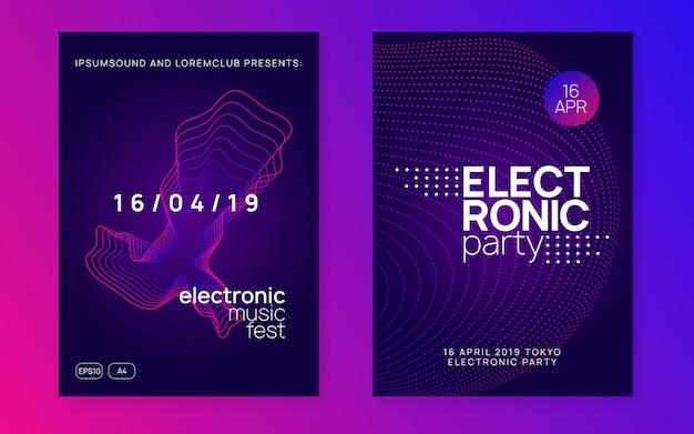 Folleto del club de neón. música electro dance. fiesta de trance dj. electroni
