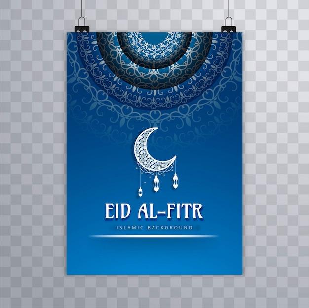 Folleto colgado azul de eid mubarak