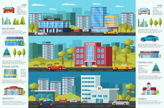 Folleto de colorido paisaje urbano con edificios municipales modernos, árboles y automóviles verdes
